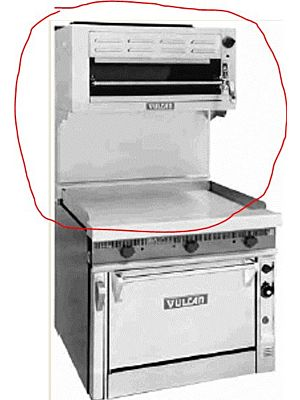 "Vulcan 36RB-P Salamander Broiler, Propane, 36"" with Reinforced High Shelf for 36""W Vulcan Ranges includes Free Shipping Without Liftgate!"