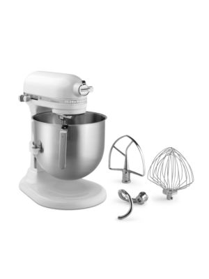 Kitchen Aid KSM8990WH Commercial Countertop 8 Quart Mixer including Bowl with Lift, Hook, Flat Beater and Whip - White